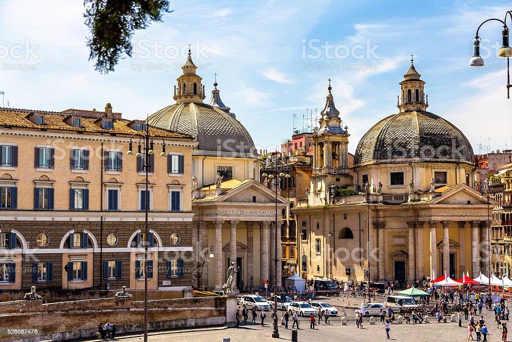 Santa Maria dei Miracoli and Montesanto, churches in Rome stock photo
