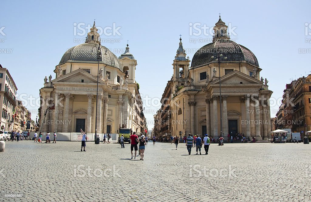 Santa Maria dei Miracoli and Santa Maria di Montesanto. Rome. stock photo