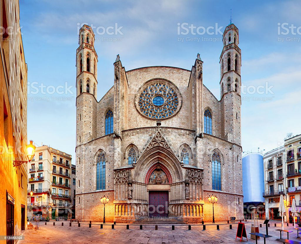 Santa Maria del Mar church in Barcelona stock photo