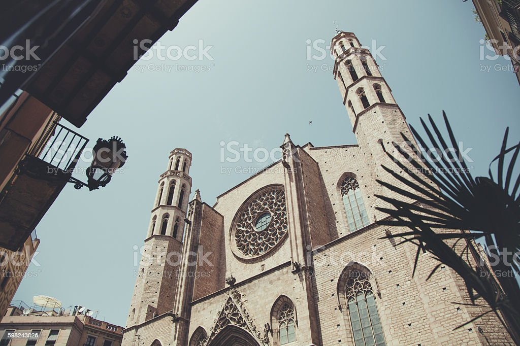 Santa Maria del Mar church in Barcelona stock photo
