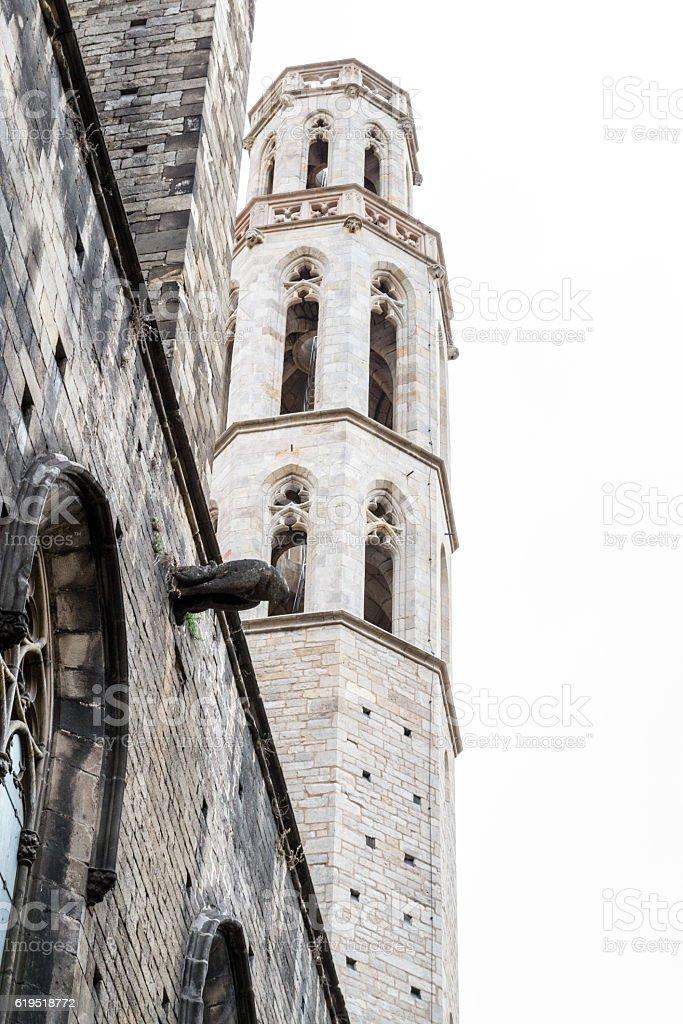 Santa Maria del Mar in the Gothic quarters of Barcelona stock photo