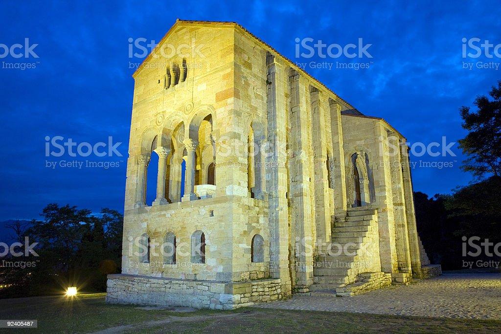 Santa Maria del Naranco at night stock photo