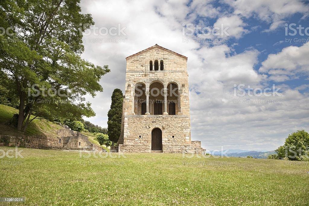 Santa Maria del Naranco front door stock photo