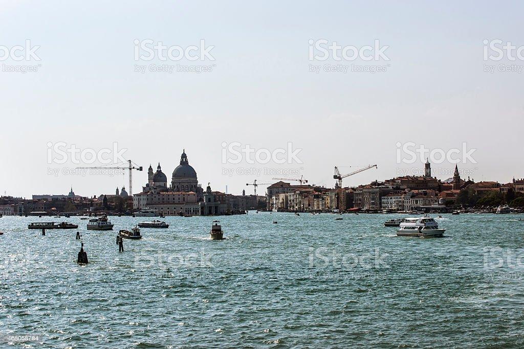 Santa Maria della Salute basilica and city skyline in Venice stock photo