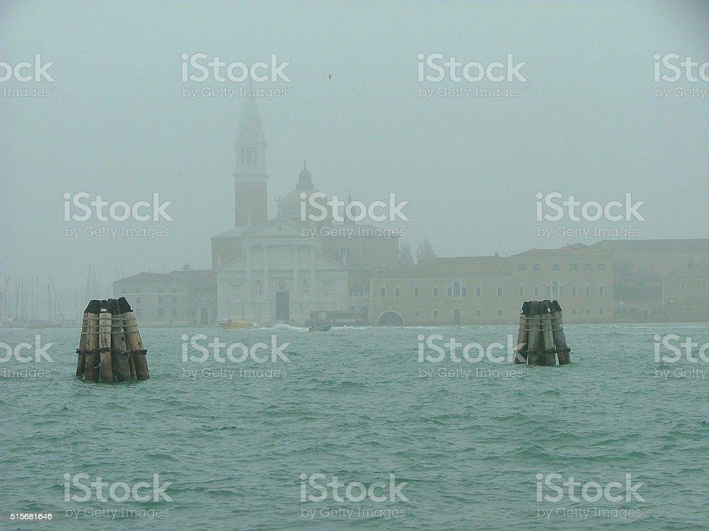 Santa Maria della Salute in Fog stock photo