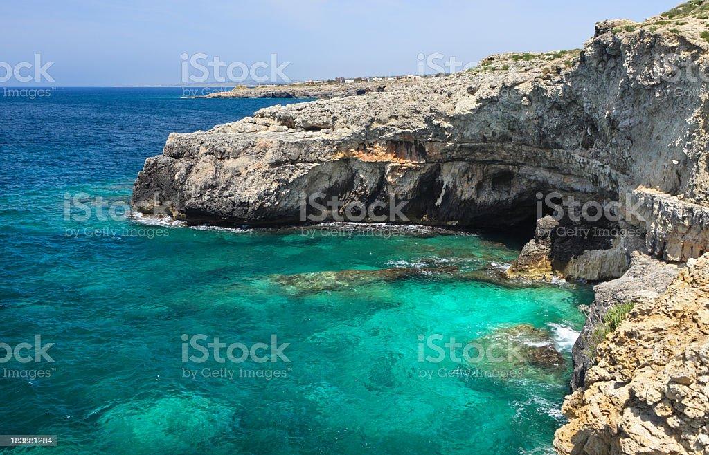 Santa Maria di Leuca caves and cliffs, Puglia Italy stock photo