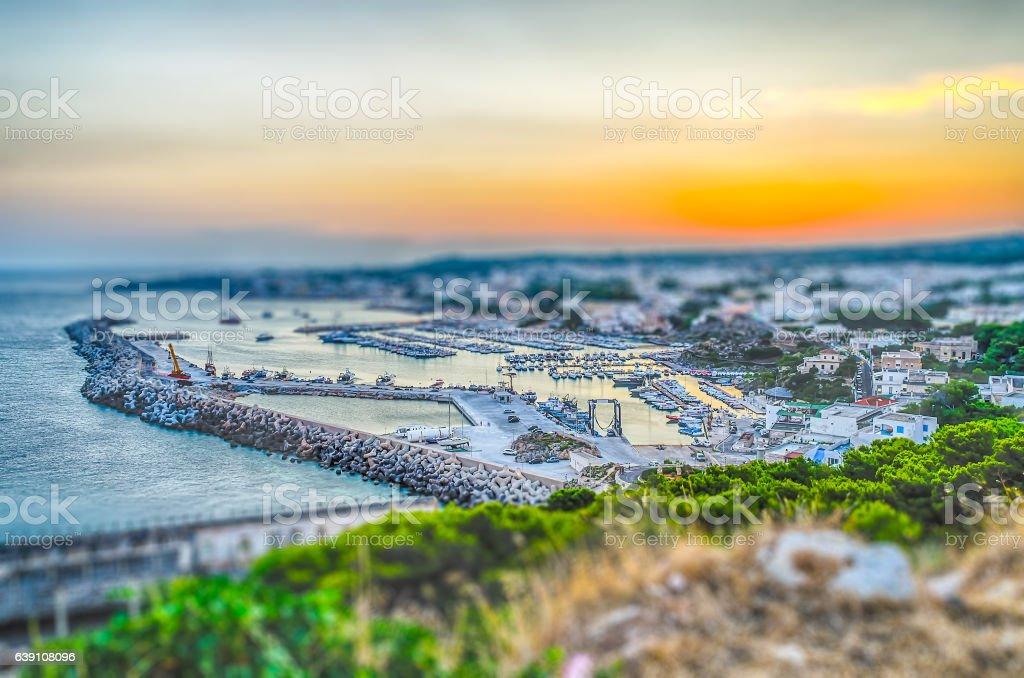 Santa Maria di Leuca waterfront, Apulia, Italy. Tilt-shift effect applied stock photo