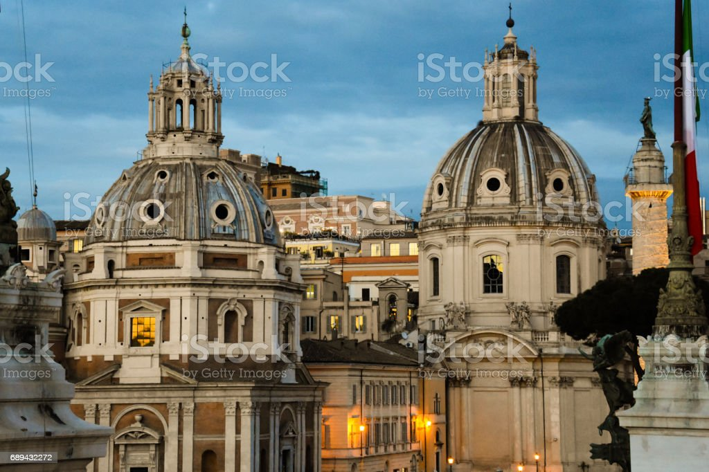 Santa Maria di Loreto  and The Church of the Most Holy Name of Mary at the Trajan Forum stock photo