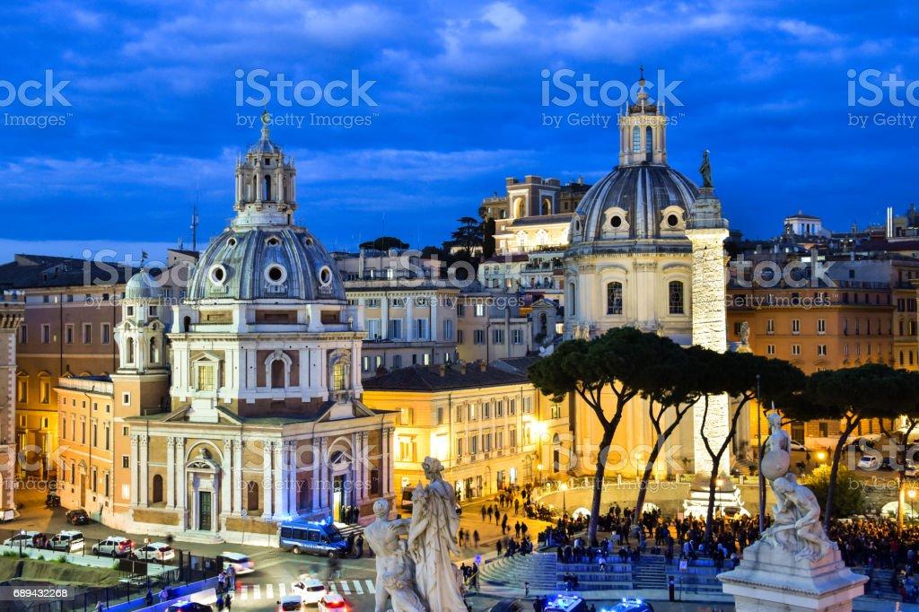 Santa Maria di Loreto, The Church of the Most Holy Name of Mary at the Trajan Forum and The Trajan Column stock photo