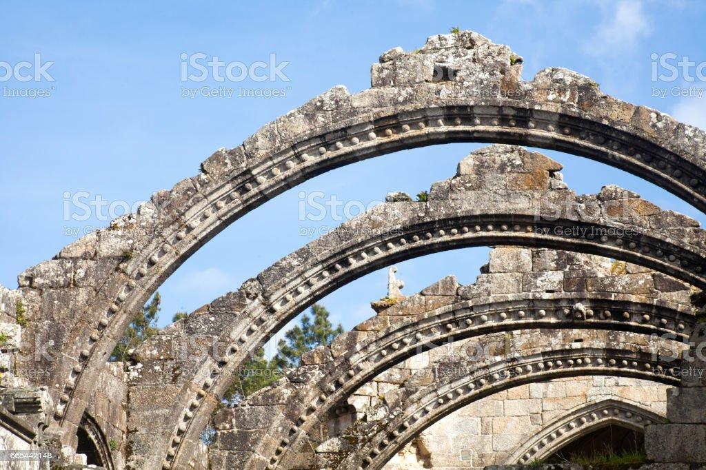 Santa Mariña Dozo church ruins, Cambados, Galicia, Spain. stock photo