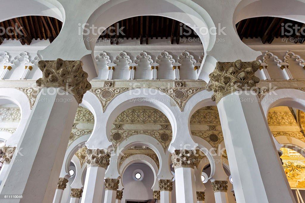 Santa Maria la Blanca synagogue. Toledo, Spain. stock photo