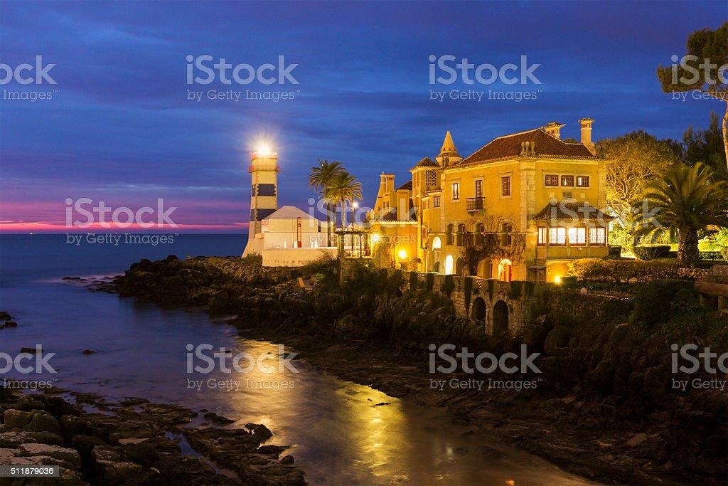 Santa Maria Lighthouse in Cascais in Portugal stock photo