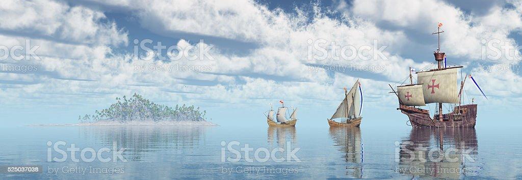 Santa Maria, Nina and Pinta of Christopher Columbus stock photo