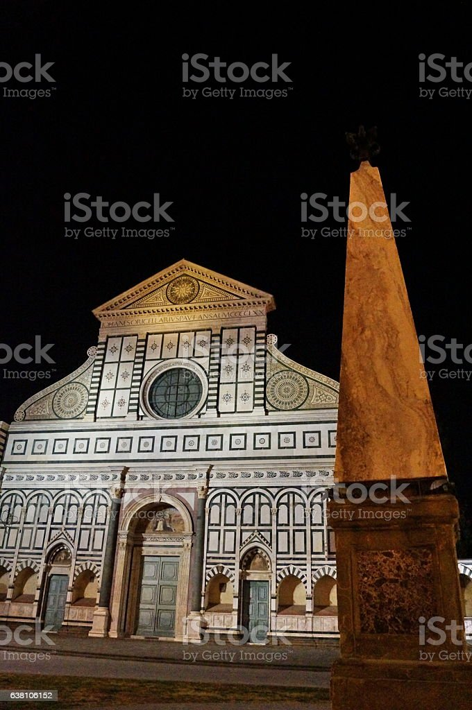 Santa Maria Novella square at night, Florence stock photo