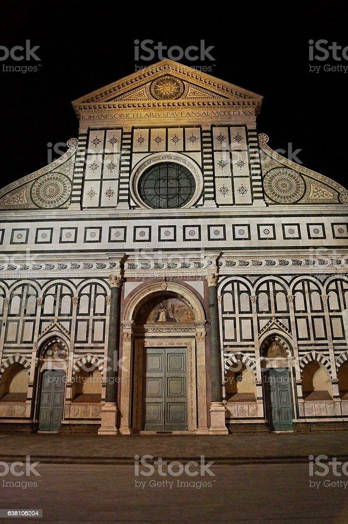 Santa Maria Novella square at night, Florence stock photo