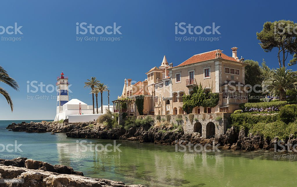 Santa Marta lighthouse and Municipal museum of Cascais, in Portugal. stock photo