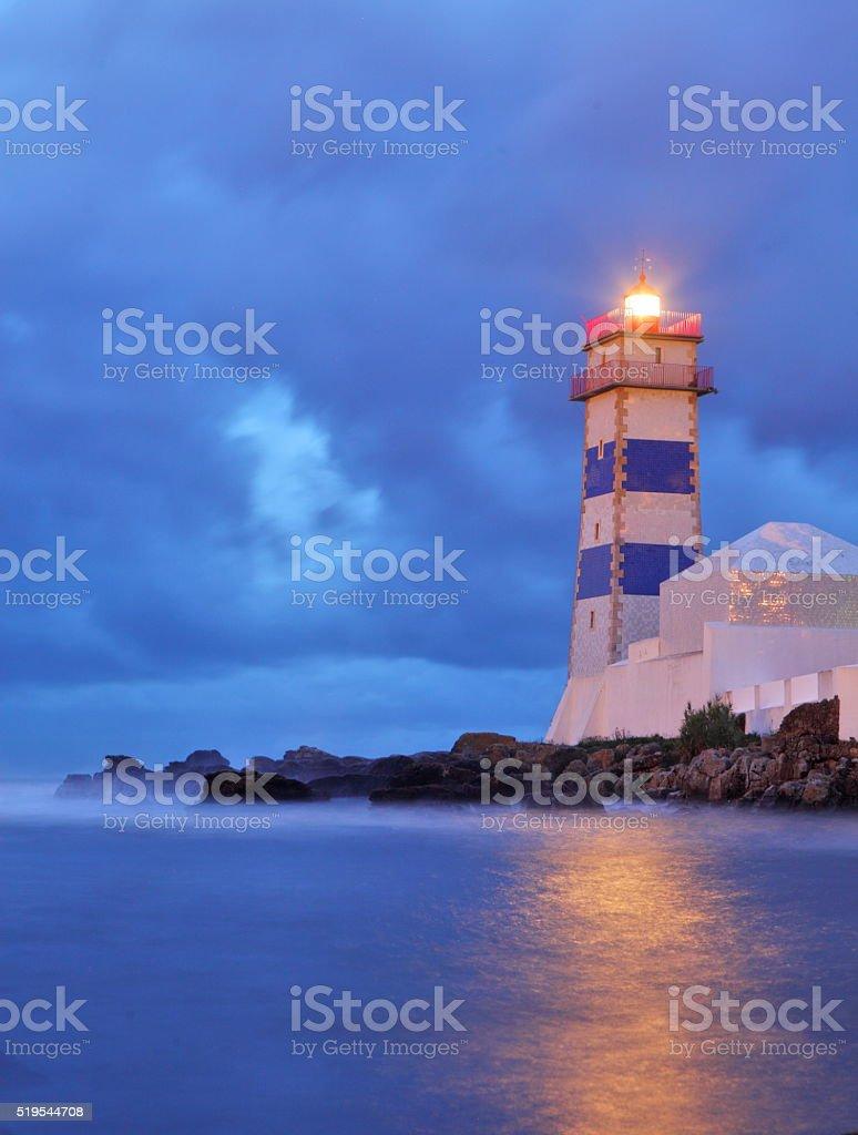 Santa Marta lighthouse in Cascais stock photo