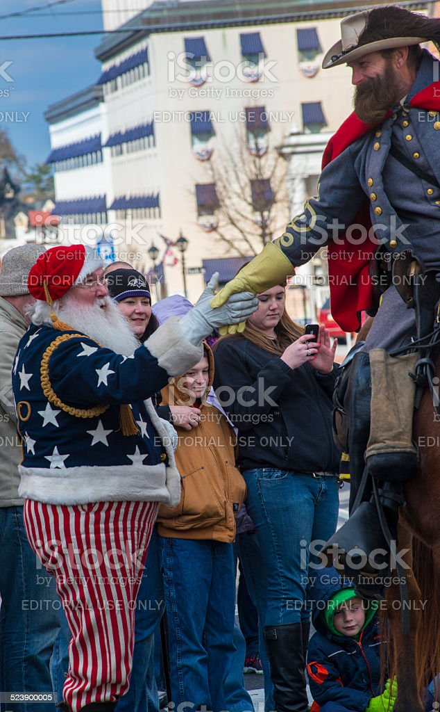 Santa Meets Confederate Soldier stock photo