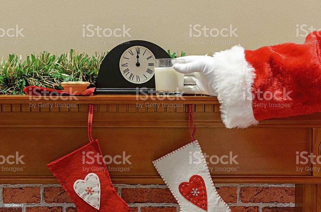 Santa milk and mince pie royalty-free stock photo