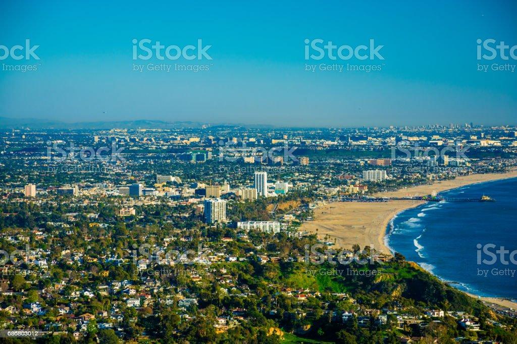 Santa Monica and coastal cities aerial stock photo
