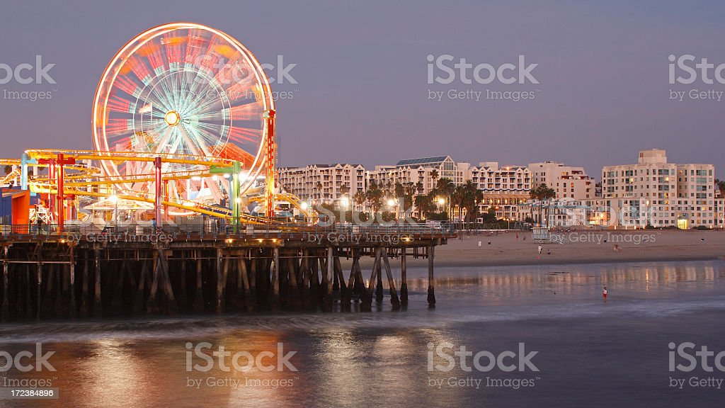 Santa Monica at night stock photo