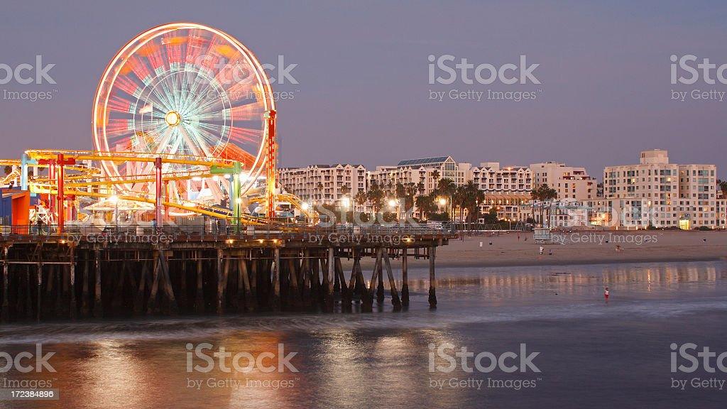 Santa Monica at night stock photo