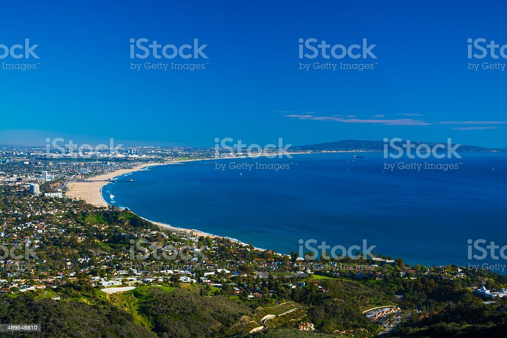 Santa Monica Bay Aerial With Pacific Palisades and Palos Verdes stock photo
