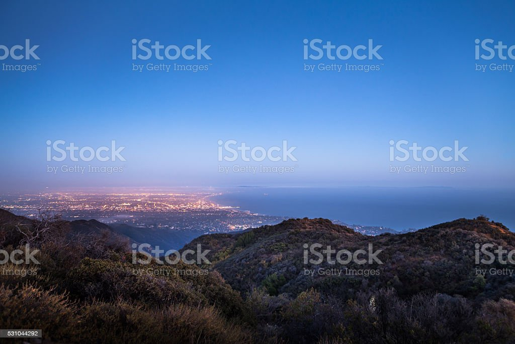 Santa Monica Bay & Westside of Los Angeles From Mountains stock photo