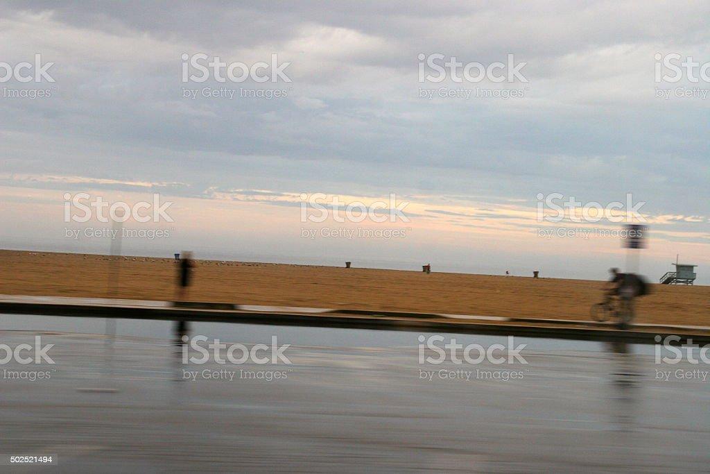 Santa Monica beach and bike path stock photo