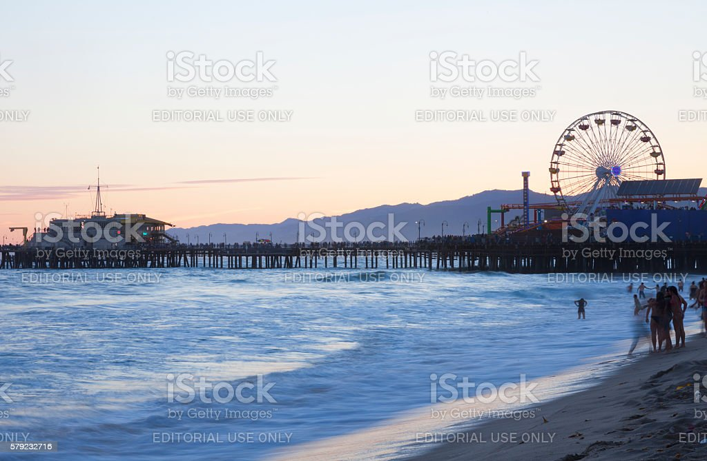 Santa Monica Beach and pier at dusk stock photo