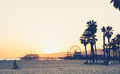 Santa Monica beach and pier at sunset