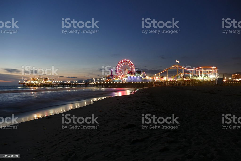 Santa Monica Beach and Pier Night stock photo