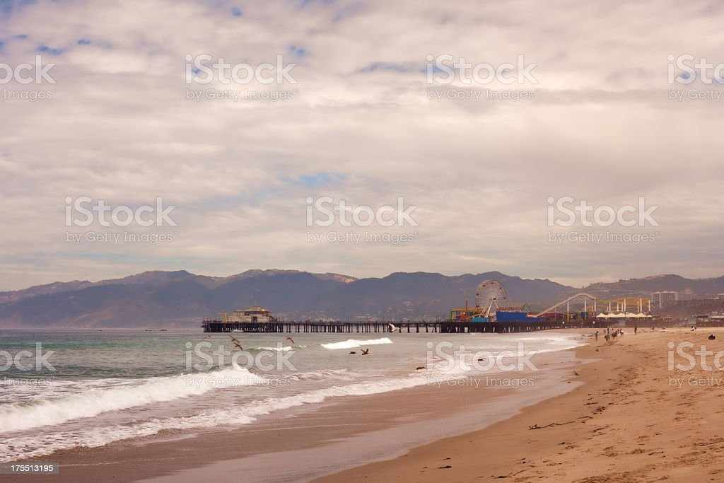 Santa Monica Beach and Pier royalty-free stock photo