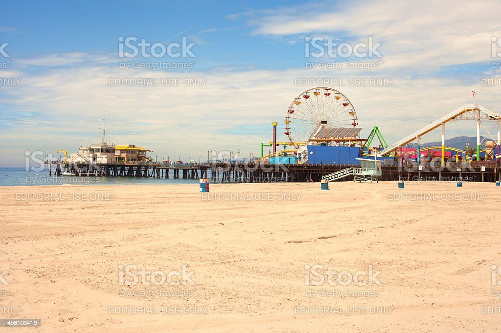 Santa Monica Beach and Pier stock photo