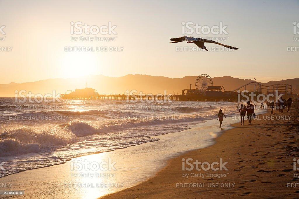 Santa Monica Beach at sunset stock photo