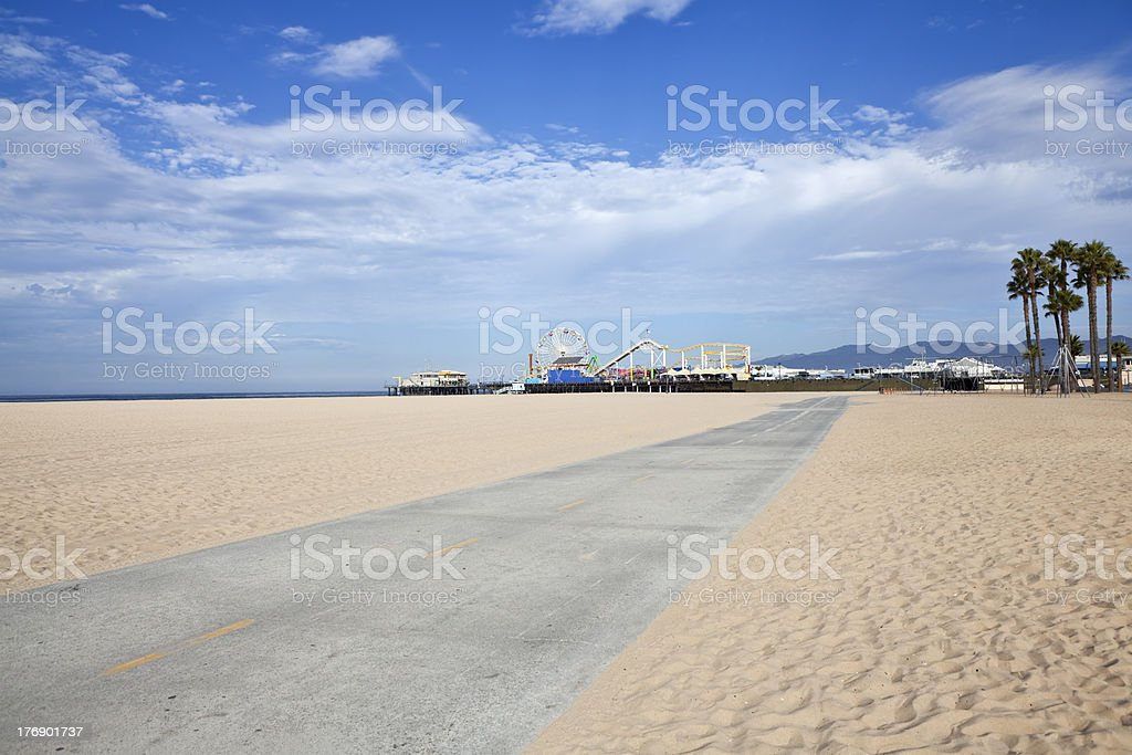 Santa Monica Beach Bike Path and Pier stock photo