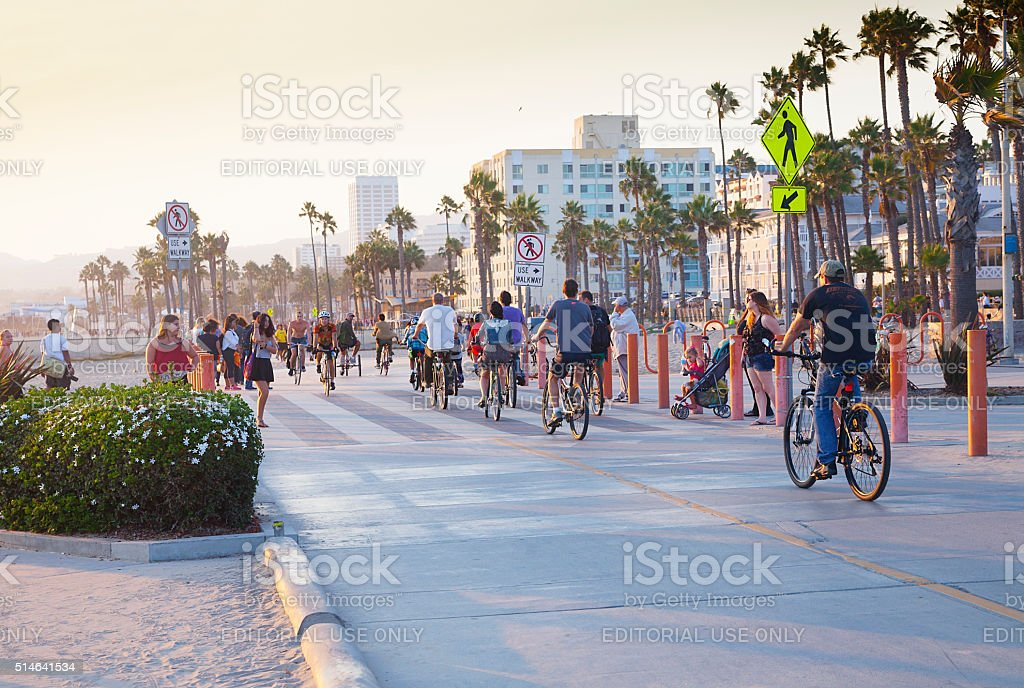 Santa Monica Beach bike path stock photo