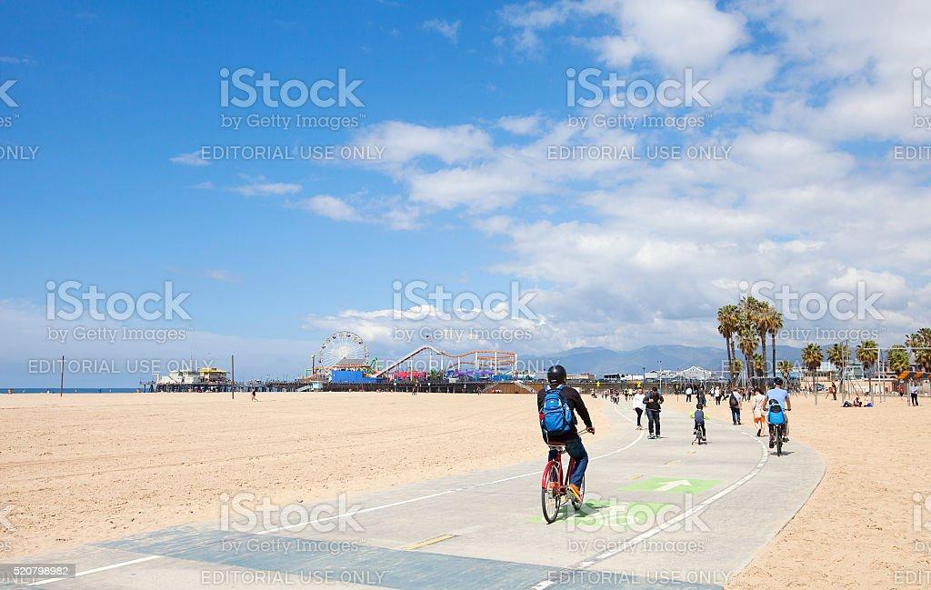 Santa Monica Beach bike path stock photo