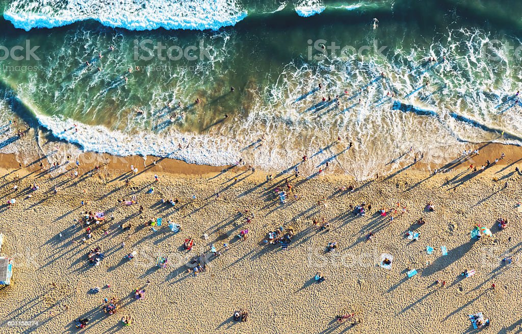 Santa Monica beach from above stock photo