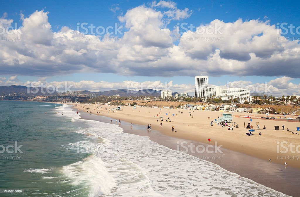 Santa Monica beach, mountains and hotels stock photo