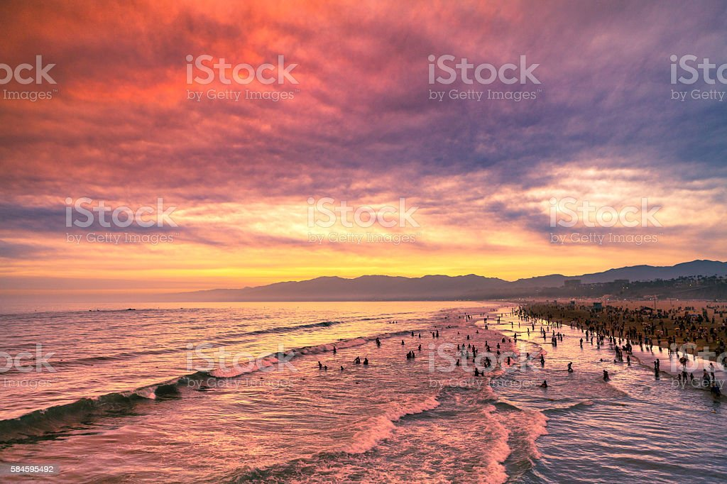 Santa Monica Beach, Ocean, Mountains, Sunset View From The Pier royalty-free stock photo