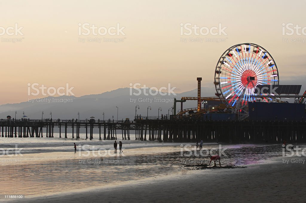 Santa Monica Beach Pier Ferris Wheel California royalty-free stock photo