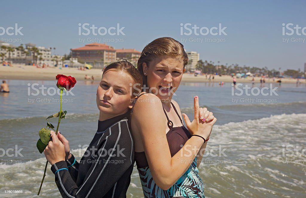 Santa Monica Beach SIsters royalty-free stock photo