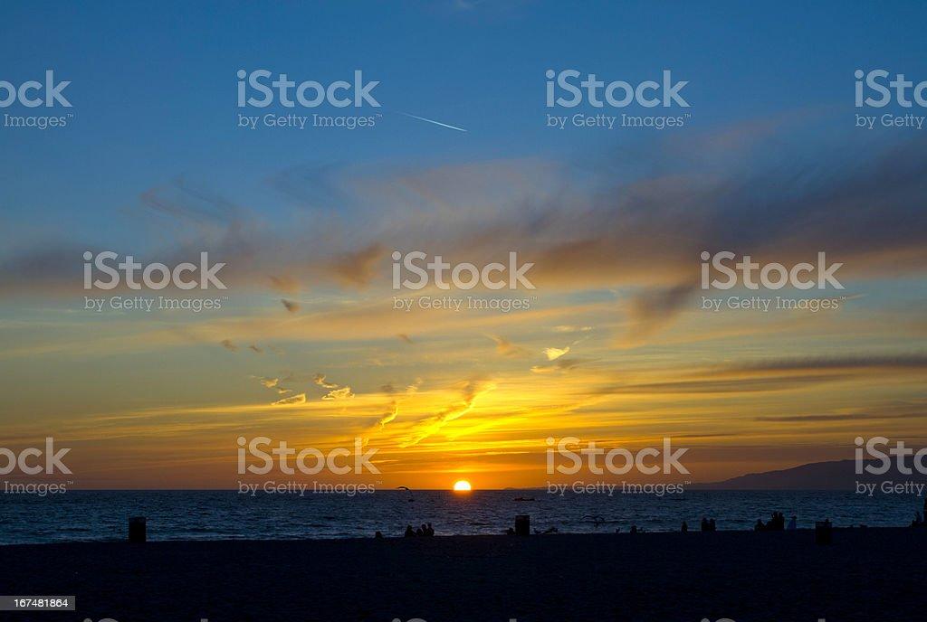 Santa Monica Beach Sunset royalty-free stock photo