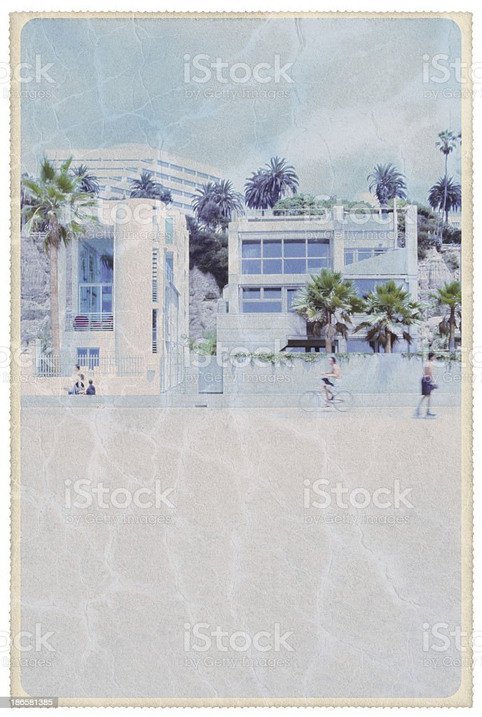 Santa Monica Beachfront - Vintage Postcard royalty-free stock photo