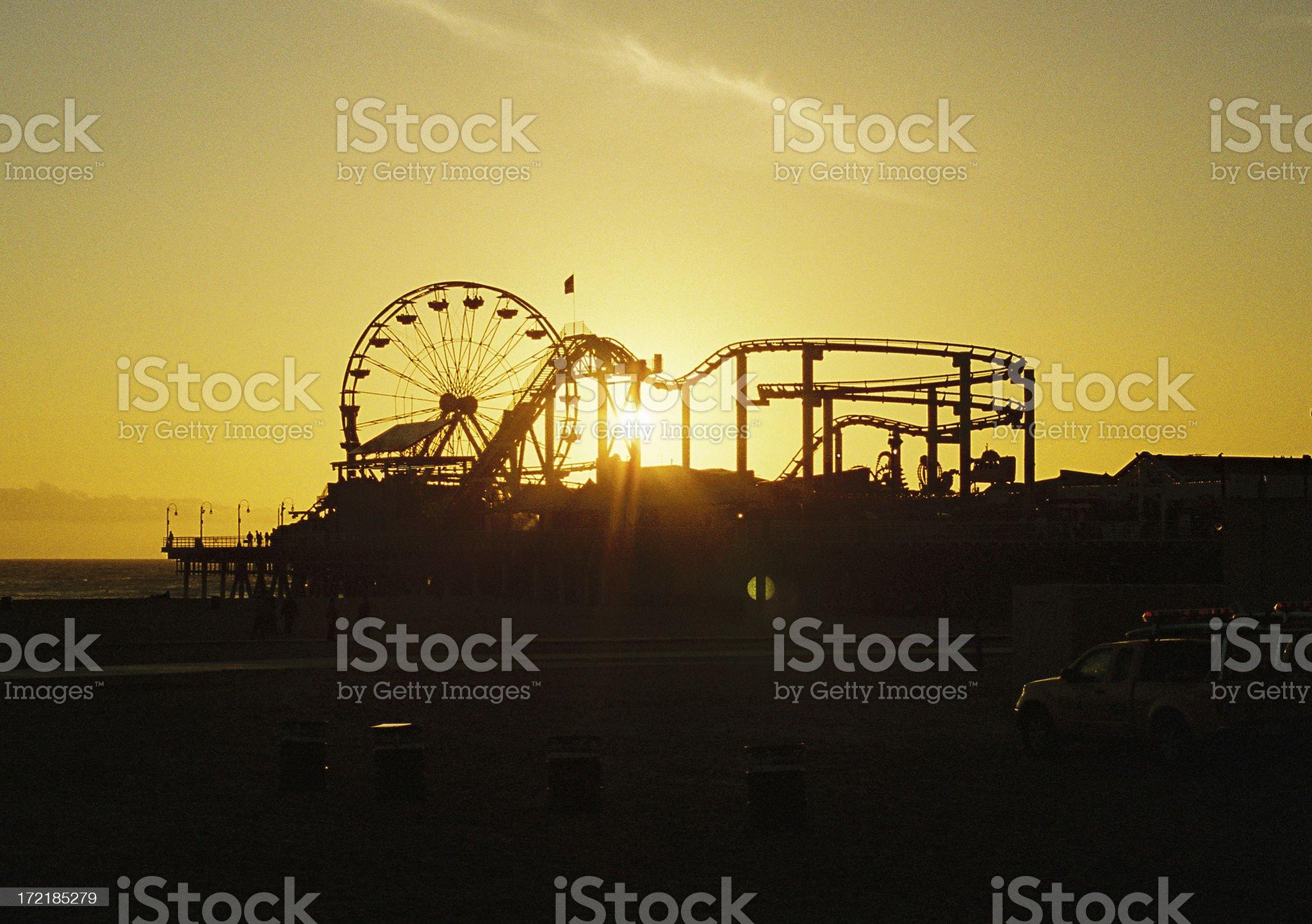 Santa Monica California Amusement park sunset royalty-free stock photo