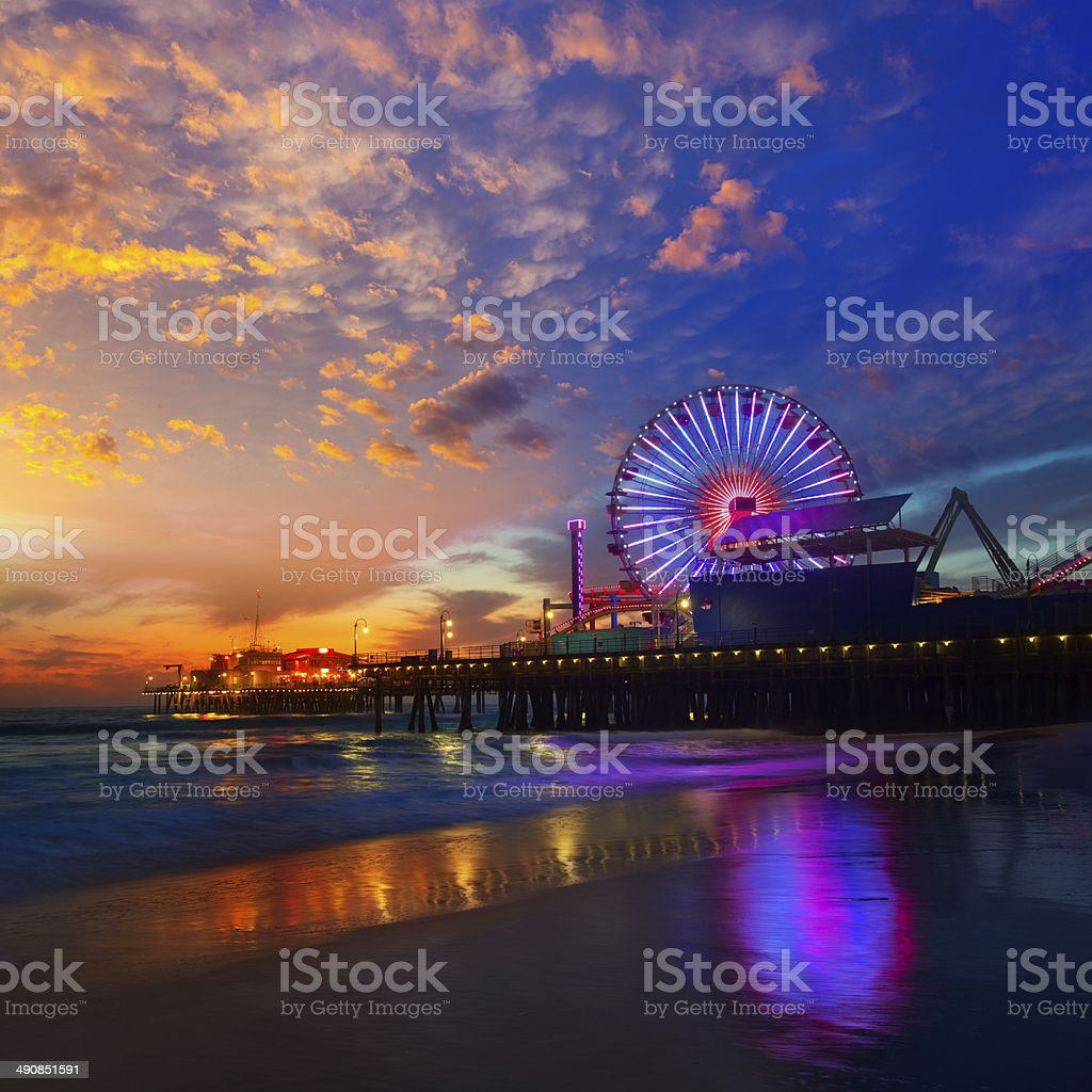 Santa Monica California sunset on Pier Ferris wheel stock photo