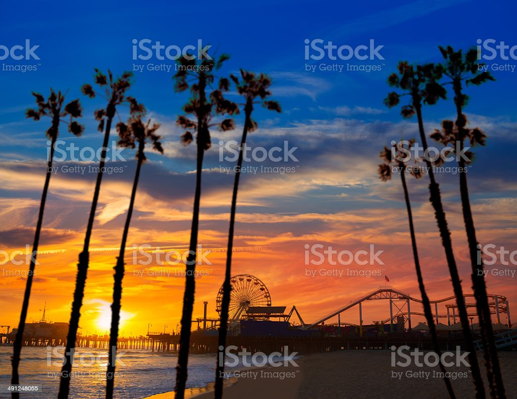 Santa Monica California sunset on Pier Ferrys wheel stock photo