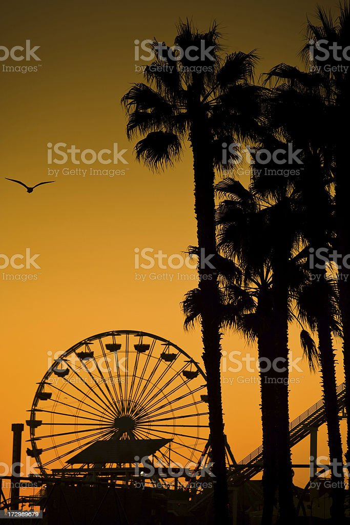 Santa Monica Ferris Wheel and Trees stock photo