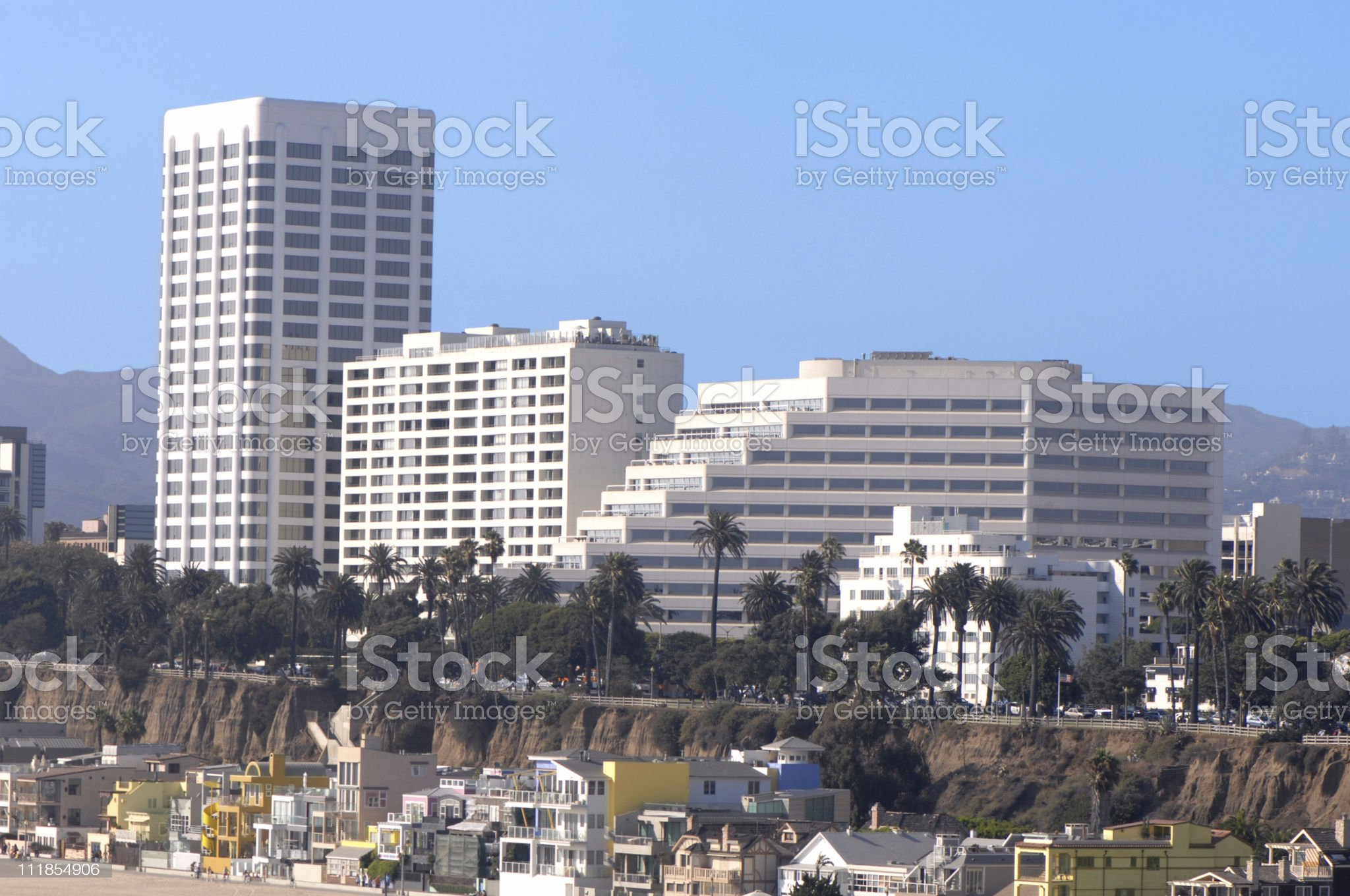 Santa Monica High Rise Buildings and Coastal Homes on Beach royalty-free stock photo